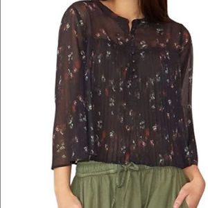 Aced Les Filles Floral Sheer Pleated Crop Top